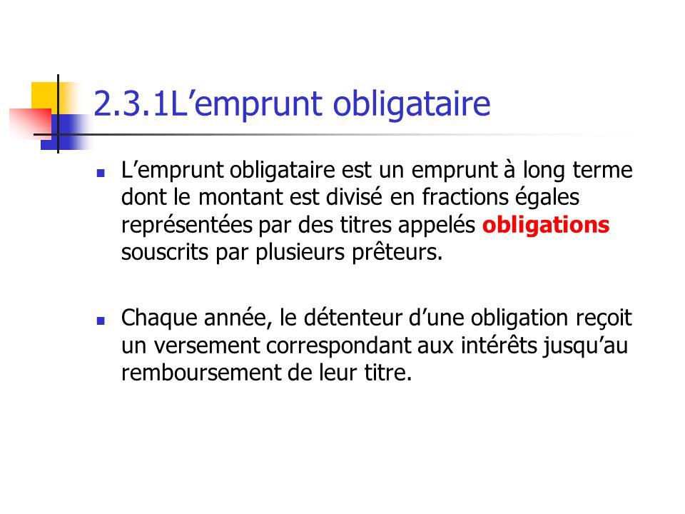 2.3.1Lemprunt obligataire Lemprunt obligataire est un emprunt à long terme dont le montant est divisé en fractions égales représentées par des titres