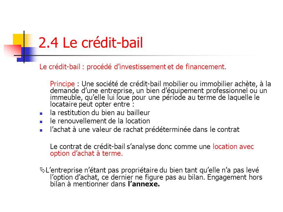 2.4 Le crédit-bail Le crédit-bail : procédé dinvestissement et de financement. Principe : Une société de crédit-bail mobilier ou immobilier achète, à