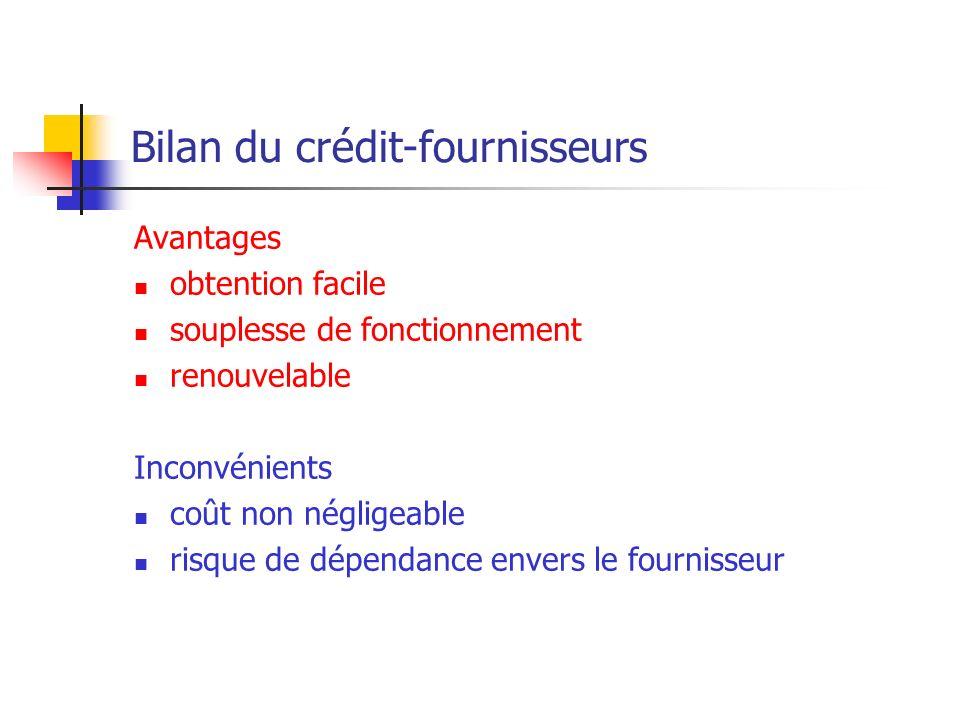 Bilan du crédit-fournisseurs Avantages obtention facile souplesse de fonctionnement renouvelable Inconvénients coût non négligeable risque de dépendan