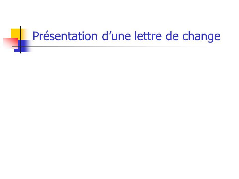 Présentation dune lettre de change
