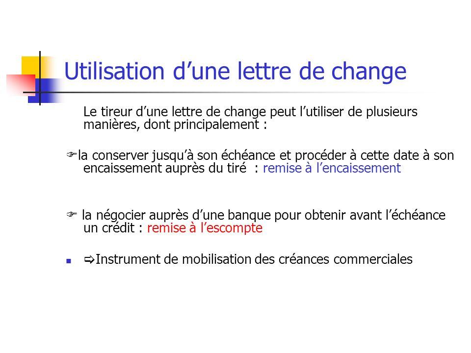 Utilisation dune lettre de change Le tireur dune lettre de change peut lutiliser de plusieurs manières, dont principalement : la conserver jusquà son
