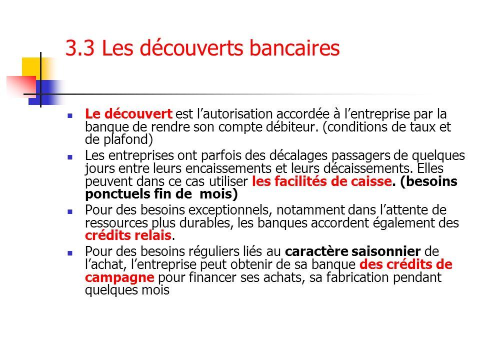 3.3 Les découverts bancaires Le découvert est lautorisation accordée à lentreprise par la banque de rendre son compte débiteur. (conditions de taux et