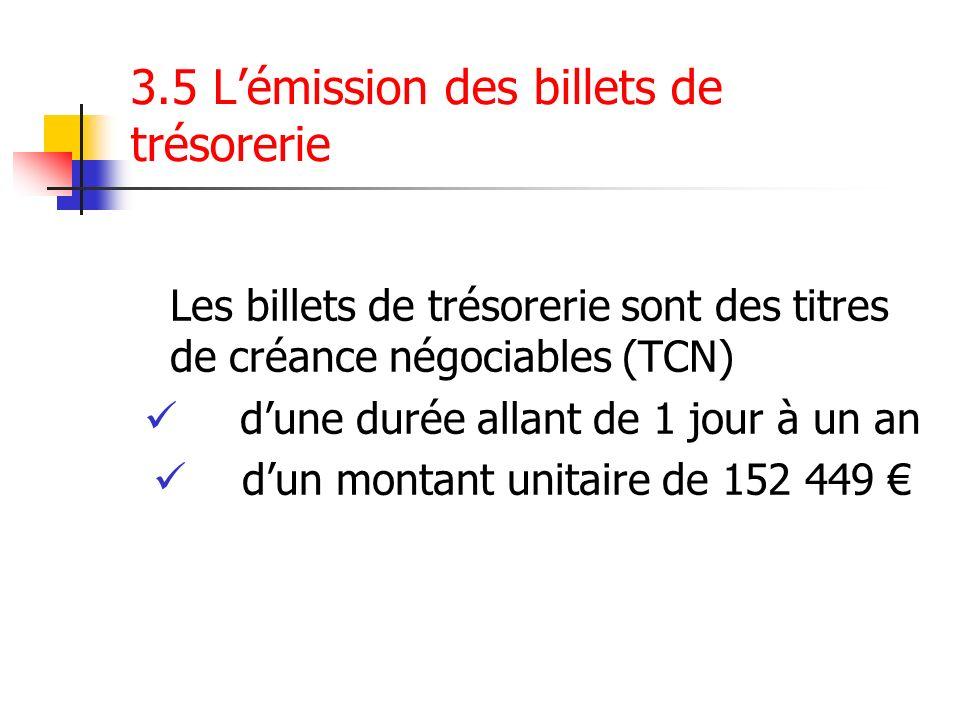 3.5 Lémission des billets de trésorerie Les billets de trésorerie sont des titres de créance négociables (TCN) dune durée allant de 1 jour à un an dun