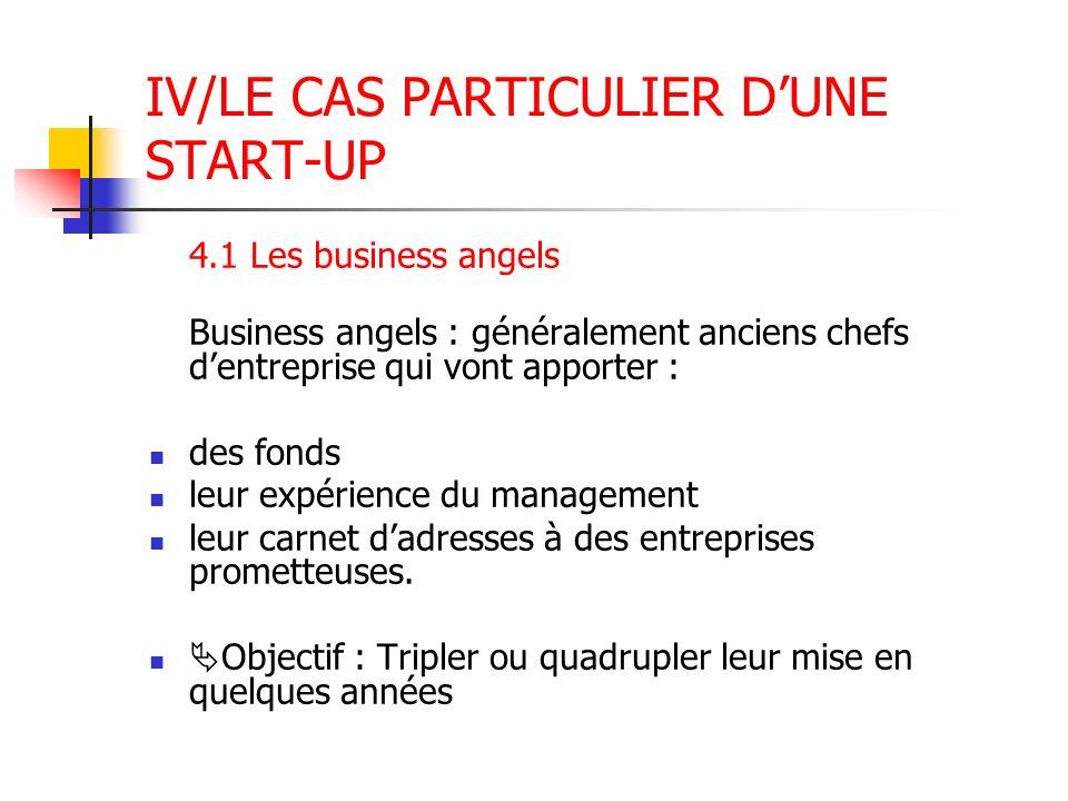IV/LE CAS PARTICULIER DUNE START-UP 4.1 Les business angels Business angels : généralement anciens chefs dentreprise qui vont apporter : des fonds leu