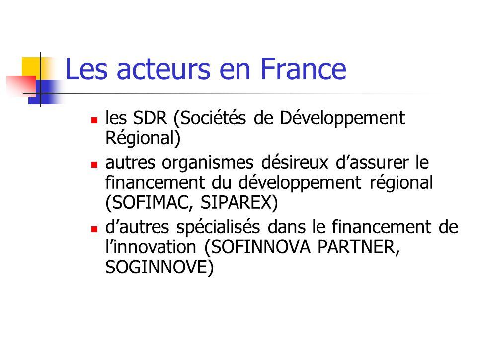 Les acteurs en France les SDR (Sociétés de Développement Régional) autres organismes désireux dassurer le financement du développement régional (SOFIM
