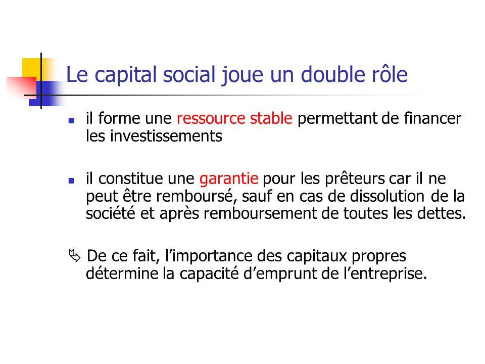 Le capital social joue un double rôle il forme une ressource stable permettant de financer les investissements il constitue une garantie pour les prêt