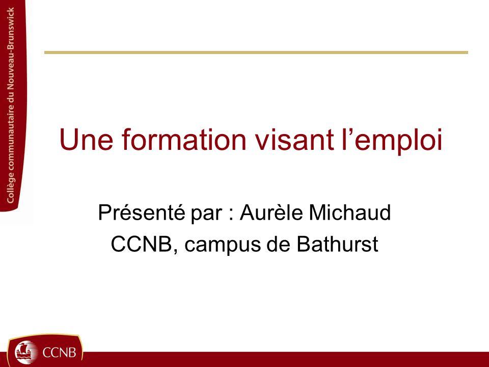 Une formation visant lemploi Présenté par : Aurèle Michaud CCNB, campus de Bathurst