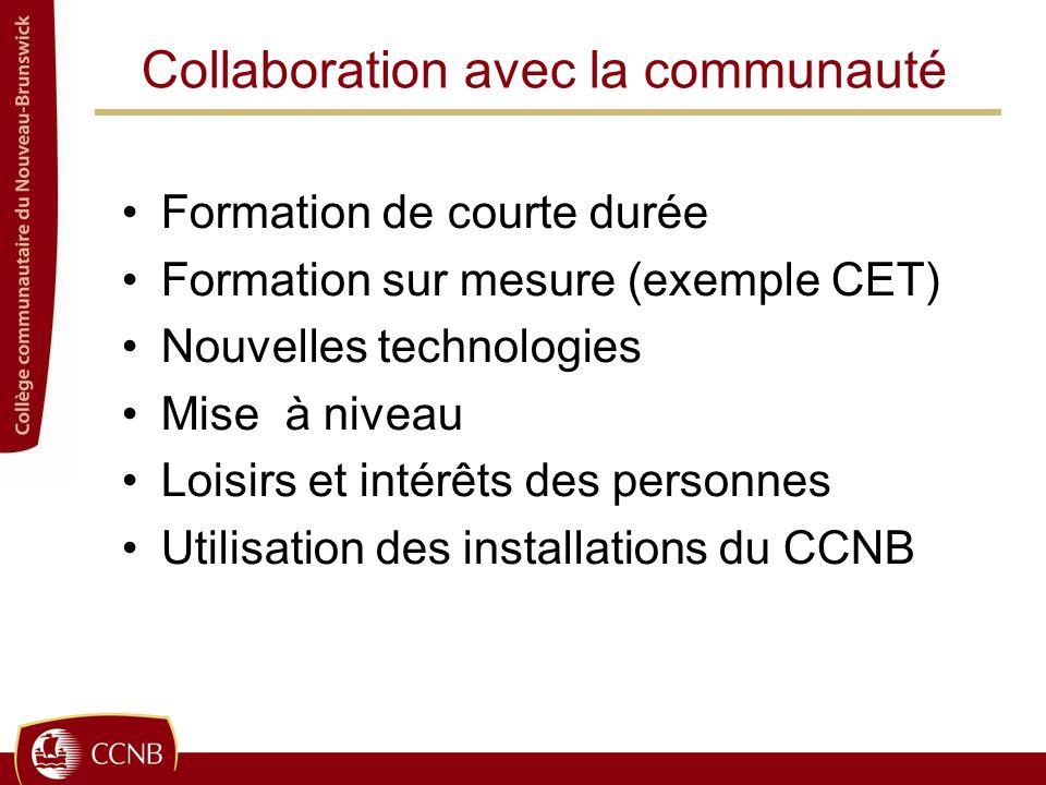 Collaboration avec la communauté Formation de courte durée Formation sur mesure (exemple CET) Nouvelles technologies Mise à niveau Loisirs et intérêts des personnes Utilisation des installations du CCNB
