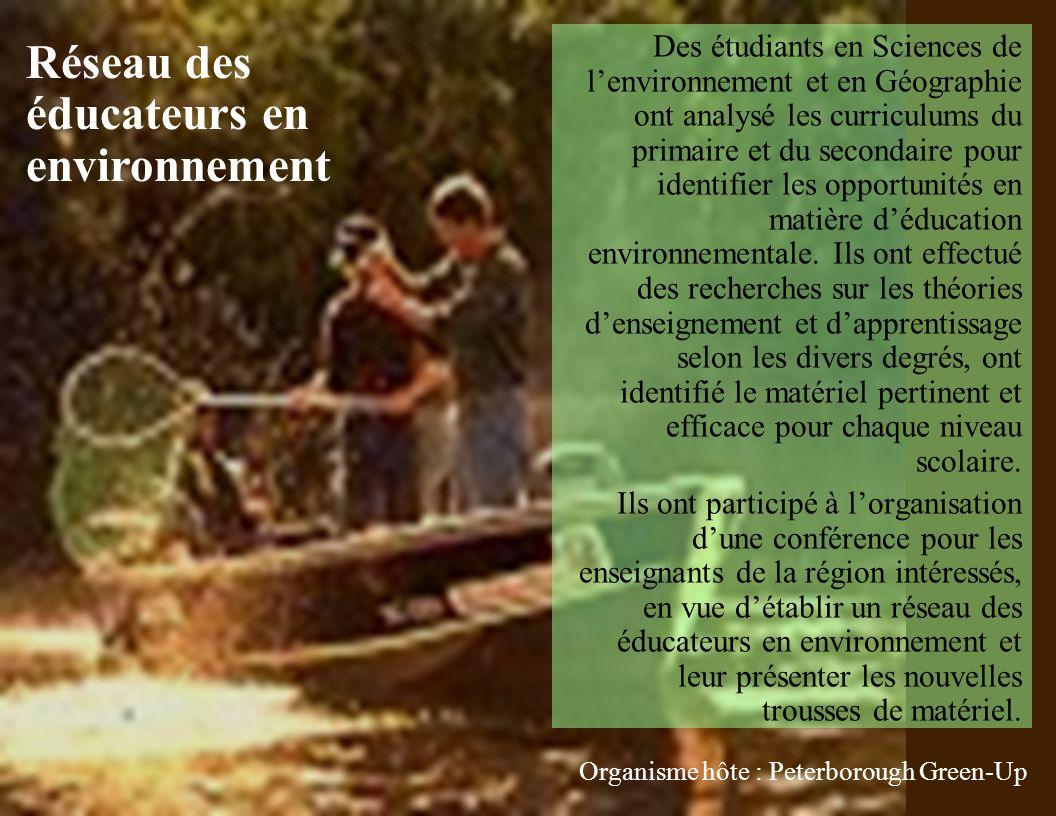 Des étudiants en Sciences de lenvironnement et en Géographie ont analysé les curriculums du primaire et du secondaire pour identifier les opportunités en matière déducation environnementale.