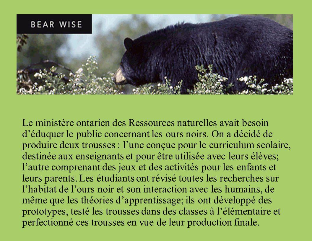 Le ministère ontarien des Ressources naturelles avait besoin déduquer le public concernant les ours noirs.