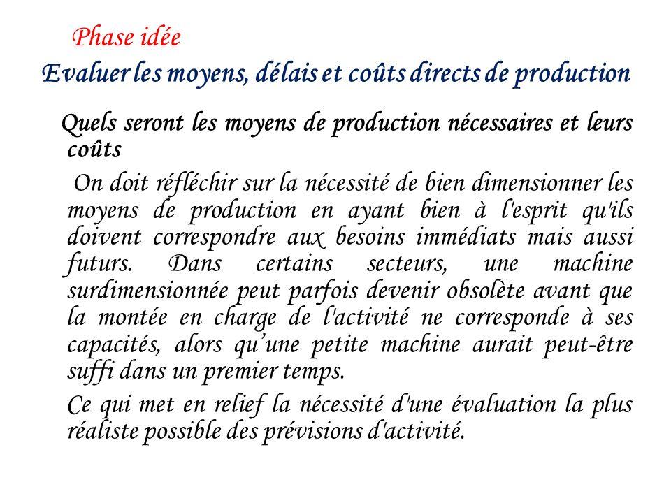 Phase idée Pouvez-vous évaluer les coûts de production .