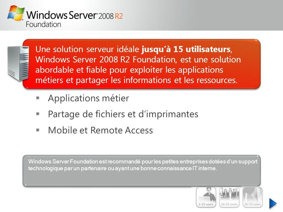 Une solution serveur idéale jusquà 15 utilisateurs, Windows Server 2008 R2 Foundation, est une solution abordable et fiable pour exploiter les applica