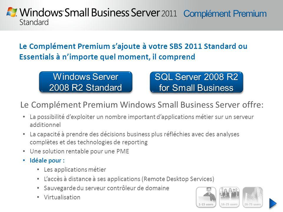 Le Complément Premium sajoute à votre SBS 2011 Standard ou Essentials à nimporte quel moment, il comprend Le Complément Premium Windows Small Business