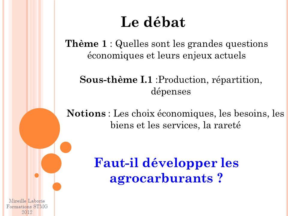 Le débat Faut-il développer les agrocarburants .