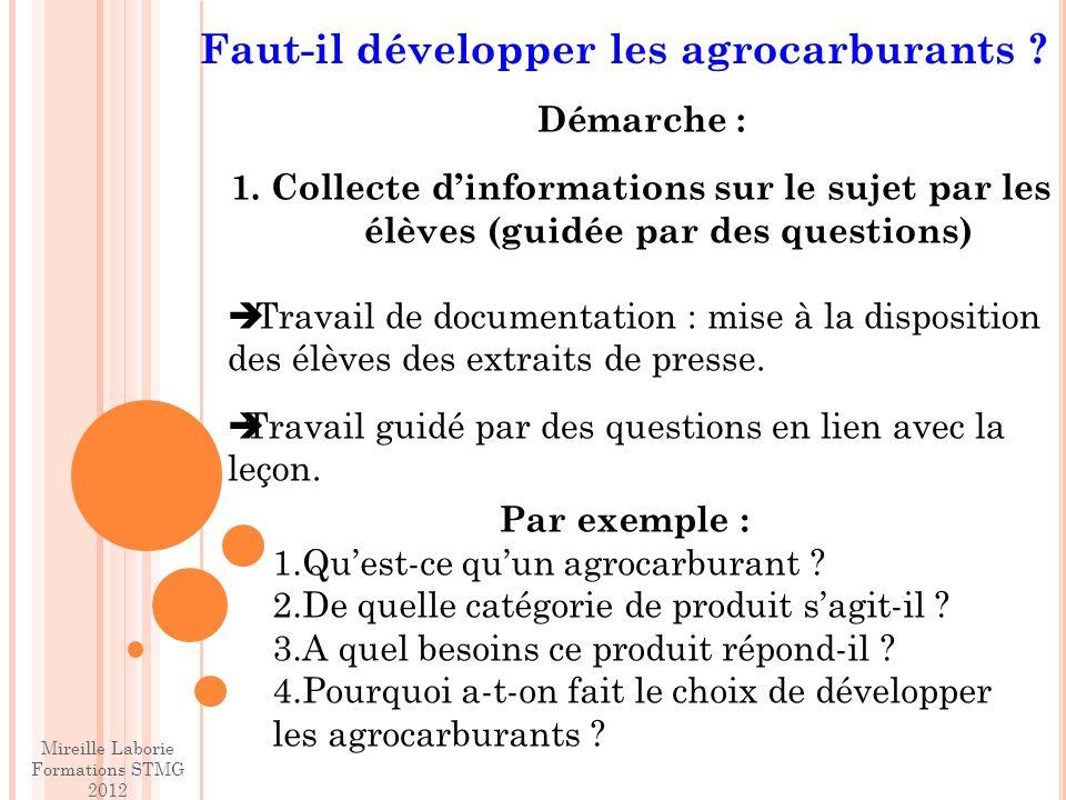 Faut-il développer les agrocarburants .Démarche : 1.