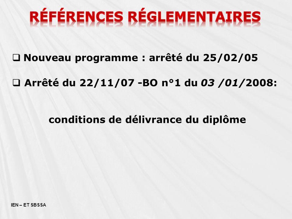 IEN – ET SBSSA Nouveau programme : arrêté du 25/02/05 Arrêté du 22/11/07 -BO n°1 du 03 /01/2008: conditions de délivrance du diplôme