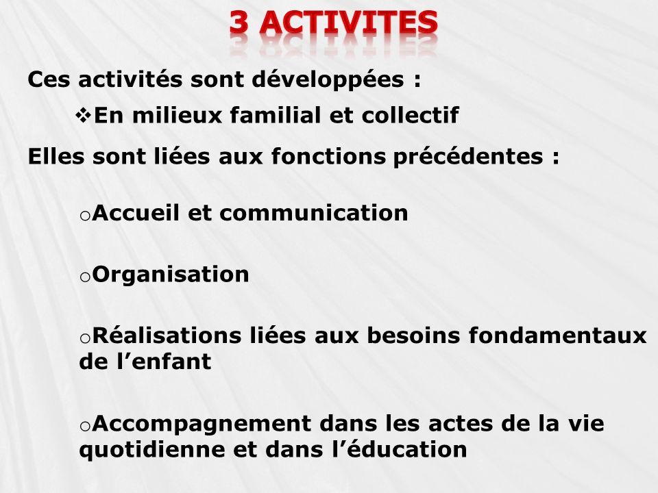 Ces activités sont développées : En milieux familial et collectif Elles sont liées aux fonctions précédentes : o Accueil et communication o Organisati