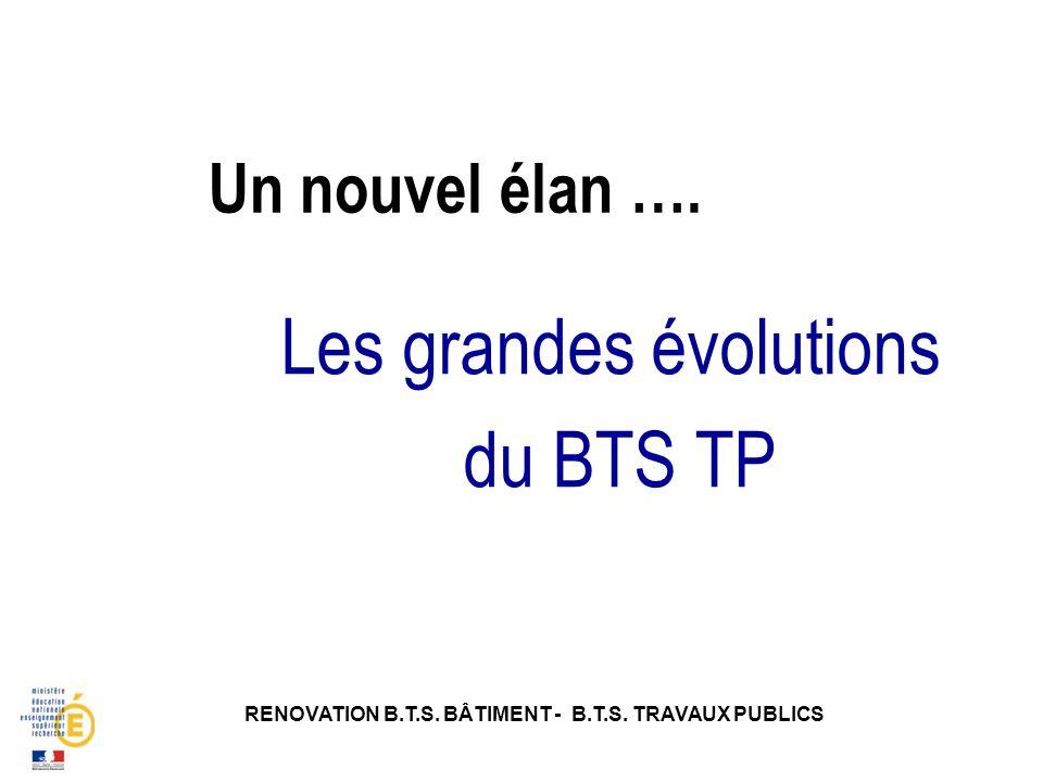 Un nouvel élan …. RENOVATION B.T.S. BÂTIMENT - B.T.S. TRAVAUX PUBLICS Les grandes évolutions du BTS TP