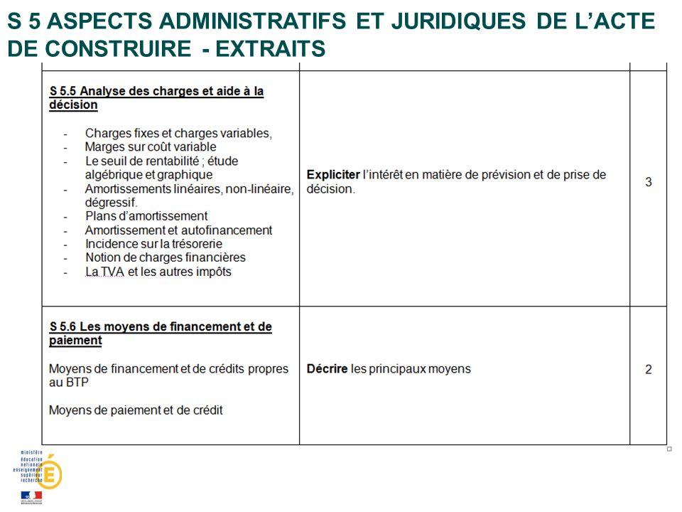 S 5 ASPECTS ADMINISTRATIFS ET JURIDIQUES DE LACTE DE CONSTRUIRE - EXTRAITS