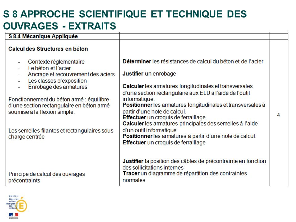 S 8 APPROCHE SCIENTIFIQUE ET TECHNIQUE DES OUVRAGES - EXTRAITS