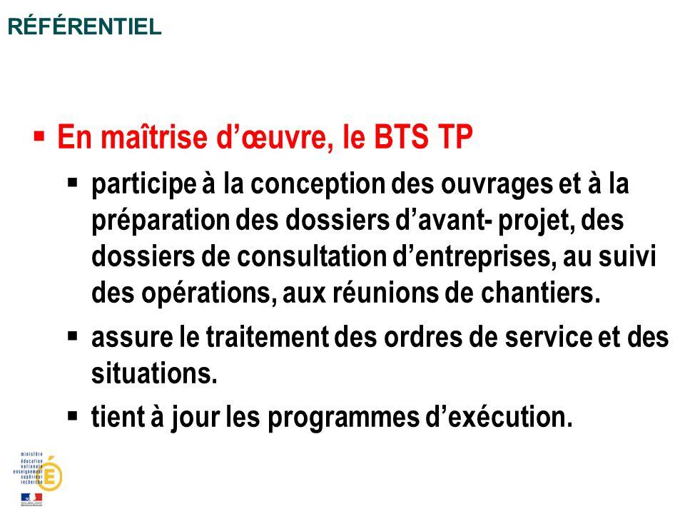 En maîtrise dœuvre, le BTS TP participe à la conception des ouvrages et à la préparation des dossiers davant- projet, des dossiers de consultation den