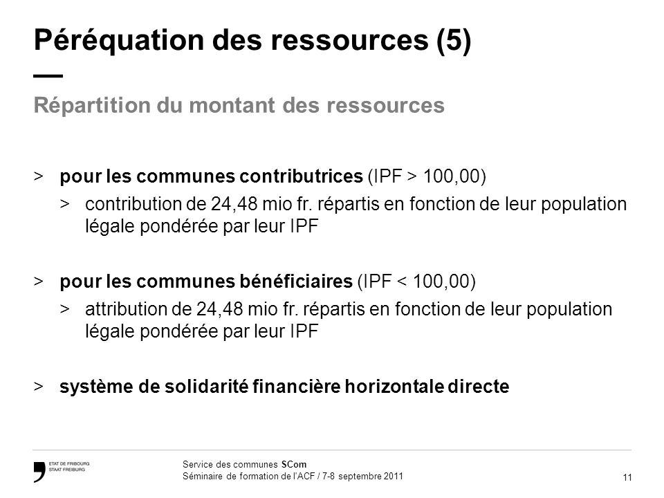 11 Service des communes SCom Séminaire de formation de l ACF / 7-8 septembre 2011 Péréquation des ressources (5) >pour les communes contributrices (IPF > 100,00) >contribution de 24,48 mio fr.