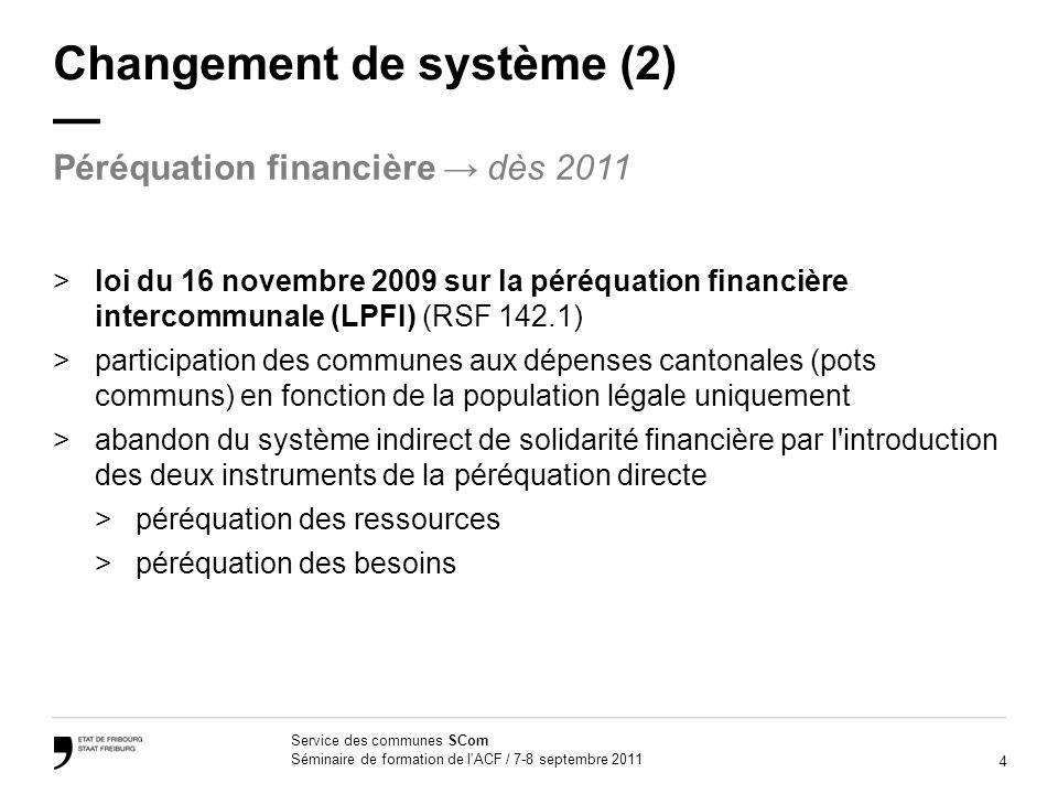 5 Service des communes SCom Séminaire de formation de l ACF / 7-8 septembre 2011 Changement de système (3) Exemple: soins spéciaux dans les EMS 202 520 fr.