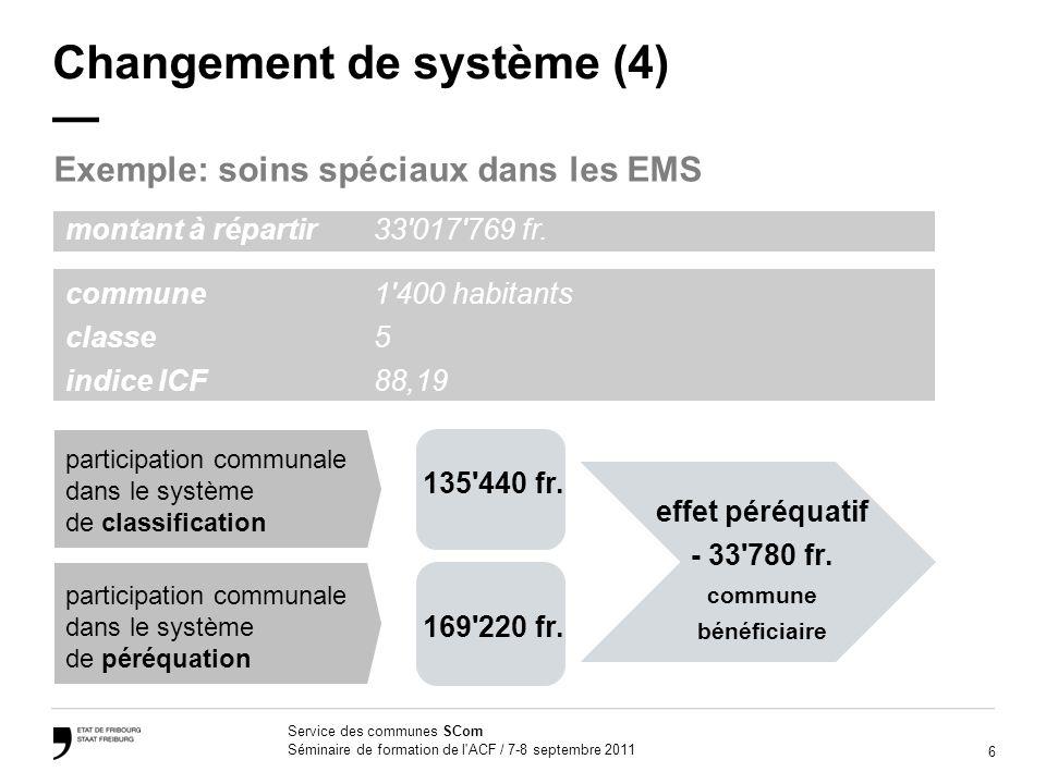 6 Service des communes SCom Séminaire de formation de l ACF / 7-8 septembre 2011 Changement de système (4) Exemple: soins spéciaux dans les EMS 135 440 fr.