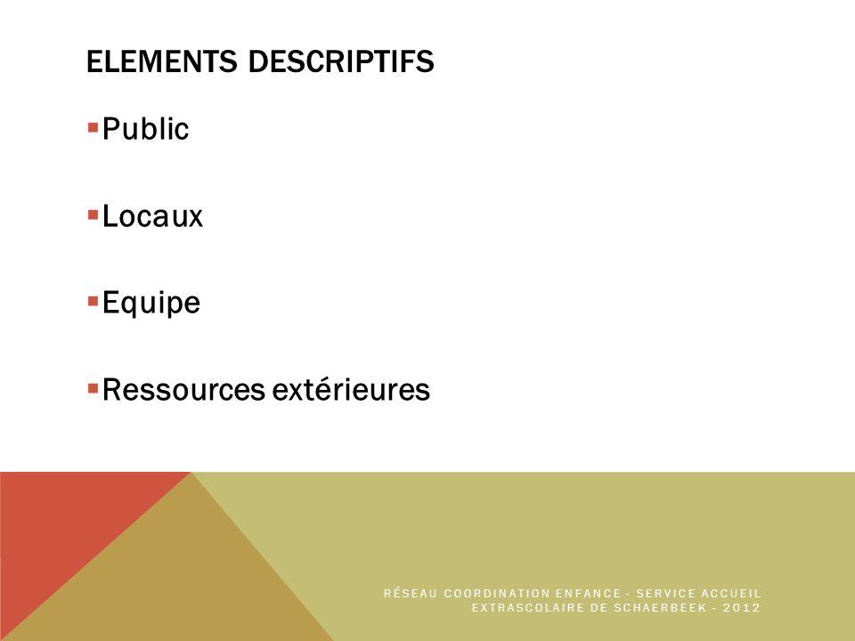 ELEMENTS DESCRIPTIFS Public Locaux Equipe Ressources extérieures RÉSEAU COORDINATION ENFANCE - SERVICE ACCUEIL EXTRASCOLAIRE DE SCHAERBEEK - 2012
