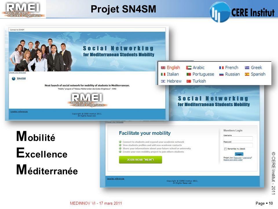Page 10 © CERE Institut - 2011 Projet SN4SM MEDINNOV VI - 17 mars 2011 M obilité E xcellence M éditerranée