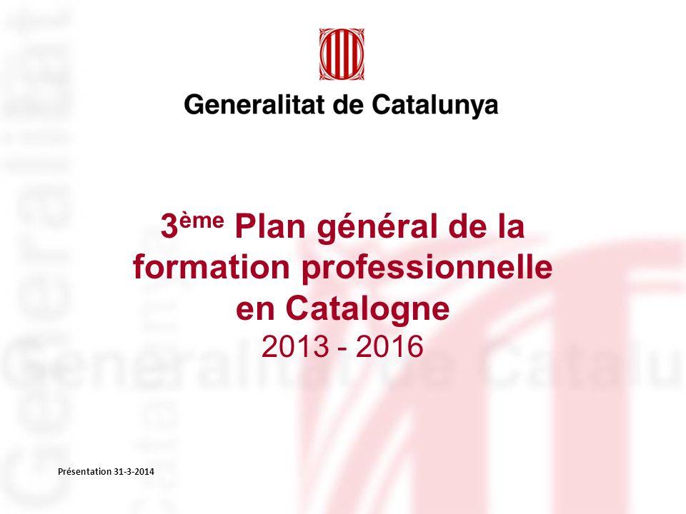 3 ème Plan général de la formation professionnelle en Catalogne 2013 - 2016 Présentation 31-3-2014