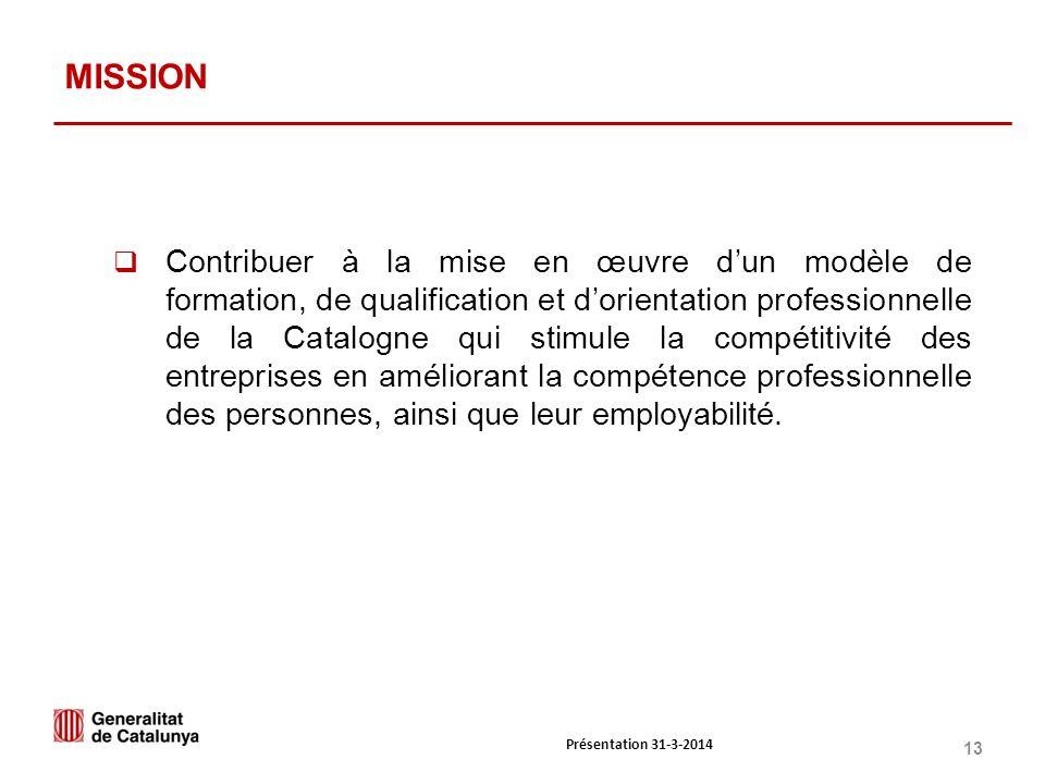 13 MISSION Contribuer à la mise en œuvre dun modèle de formation, de qualification et dorientation professionnelle de la Catalogne qui stimule la compétitivité des entreprises en améliorant la compétence professionnelle des personnes, ainsi que leur employabilité.