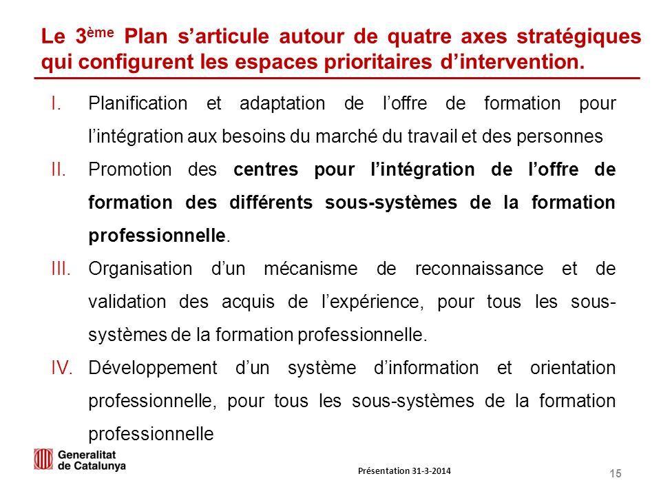 15 Le 3 ème Plan sarticule autour de quatre axes stratégiques qui configurent les espaces prioritaires dintervention.