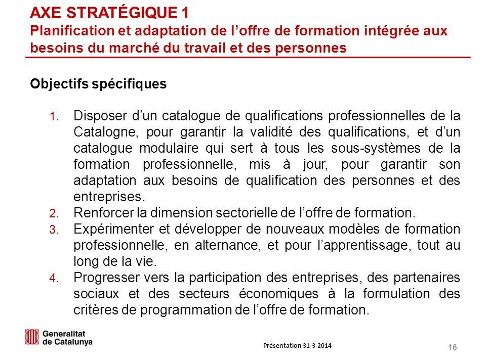 16 AXE STRATÉGIQUE 1 Planification et adaptation de loffre de formation intégrée aux besoins du marché du travail et des personnes 1.