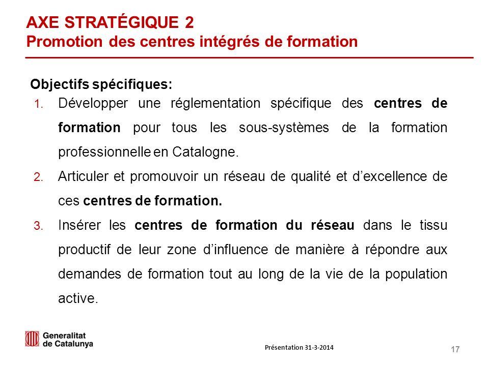 17 AXE STRATÉGIQUE 2 Promotion des centres intégrés de formation 1.
