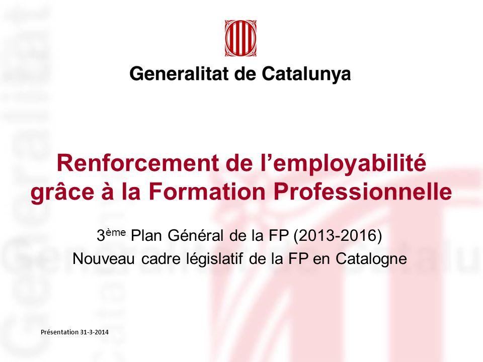 Renforcement de lemployabilité grâce à la Formation Professionnelle 3 ème Plan Général de la FP (2013-2016) Nouveau cadre législatif de la FP en Catalogne Présentation 31-3-2014
