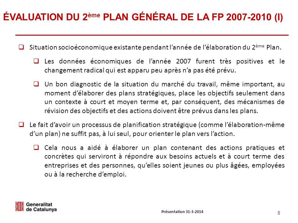 8 ÉVALUATION DU 2 ème PLAN GÉNÉRAL DE LA FP 2007-2010 (I) Situation socioéconomique existante pendant lannée de lélaboration du 2 ème Plan.