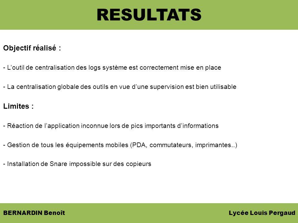 BERNARDIN Benoît Lycée Louis Pergaud Objectif réalisé : - Loutil de centralisation des logs système est correctement mise en place - La centralisation