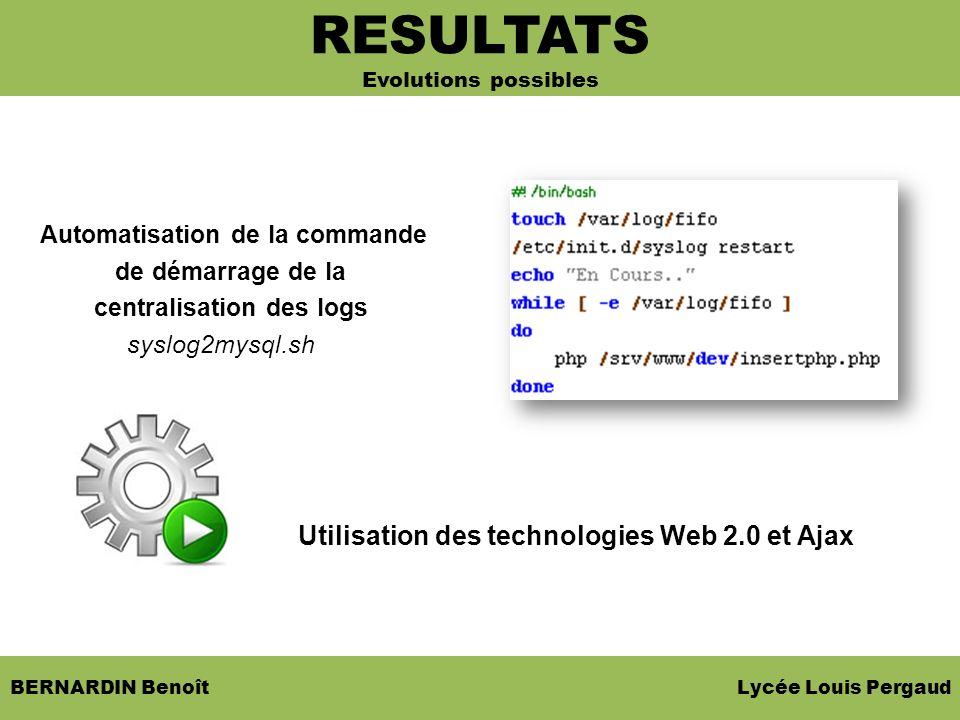 BERNARDIN Benoît Lycée Louis Pergaud Automatisation de la commande de démarrage de la centralisation des logs syslog2mysql.sh Utilisation des technolo