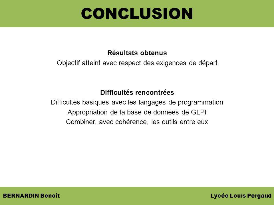 BERNARDIN Benoît Lycée Louis Pergaud Résultats obtenus Objectif atteint avec respect des exigences de départ Difficultés rencontrées Difficultés basiq