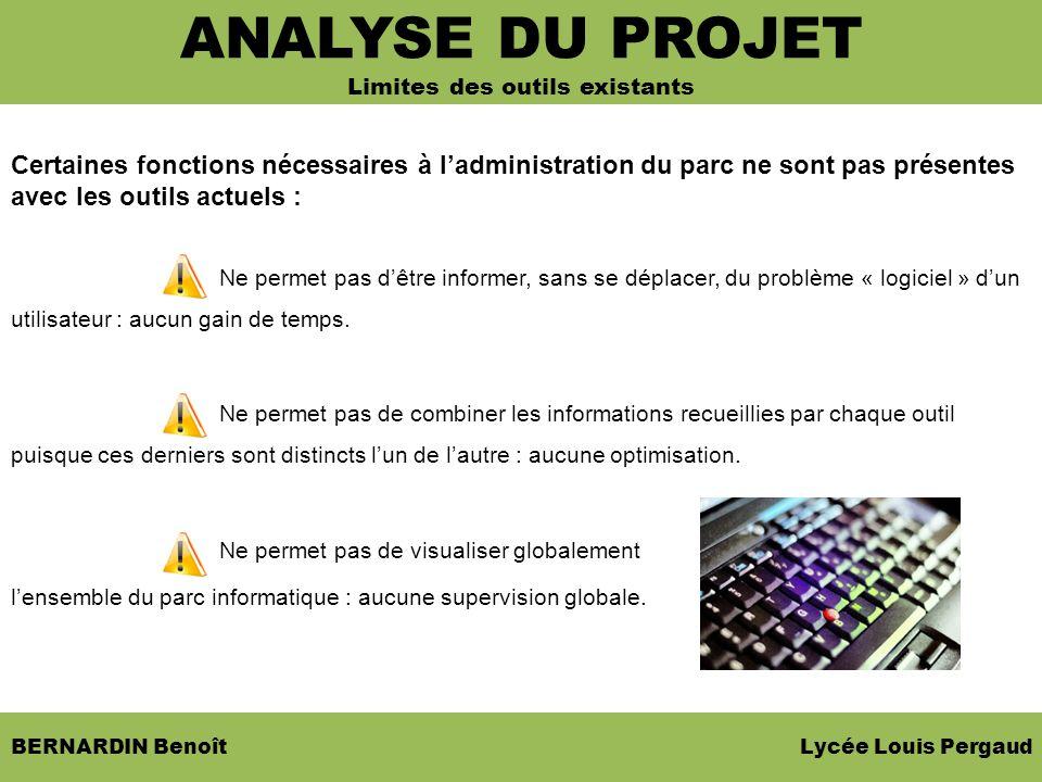 BERNARDIN Benoît Lycée Louis Pergaud Certaines fonctions nécessaires à ladministration du parc ne sont pas présentes avec les outils actuels : Ne perm