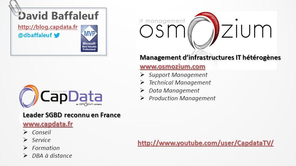 David Baffaleuf http://blog.capdata.fr @dbaffaleuf Leader SGBD reconnu en France www.capdata.fr Conseil Service Formation DBA à distance Management di