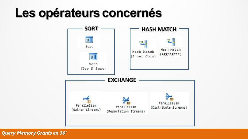 Query Memory Grants en 30 Les opérateurs concernés SORT HASH MATCH EXCHANGE