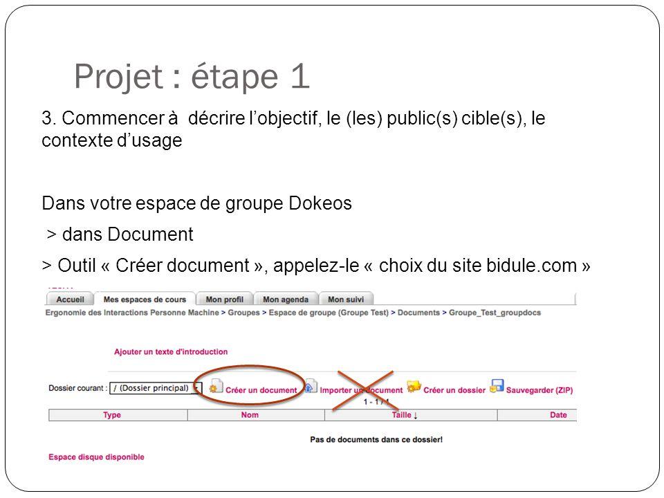 Projet : étape 1 3.