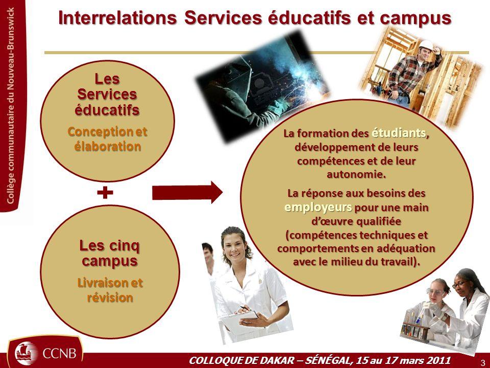 Interrelations Services éducatifs et campus 3 COLLOQUE DE DAKAR – SÉNÉGAL, 15 au 17 mars 2011 Les Services éducatifs Conception et élaboration Les cin