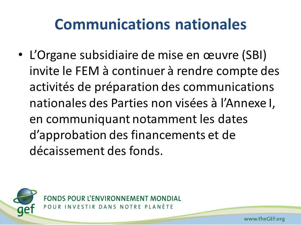 Communications nationales LOrgane subsidiaire de mise en œuvre (SBI) invite le FEM à continuer à rendre compte des activités de préparation des communications nationales des Parties non visées à lAnnexe I, en communiquant notamment les dates dapprobation des financements et de décaissement des fonds.