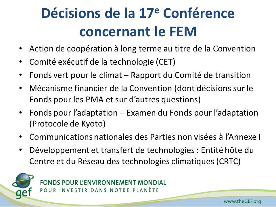 Décisions de la 17 e Conférence concernant le FEM Action de coopération à long terme au titre de la Convention Comité exécutif de la technologie (CET) Fonds vert pour le climat – Rapport du Comité de transition Mécanisme financier de la Convention (dont décisions sur le Fonds pour les PMA et sur dautres questions) Fonds pour ladaptation – Examen du Fonds pour ladaptation (Protocole de Kyoto) Communications nationales des Parties non visées à lAnnexe I Développement et transfert de technologies : Entité hôte du Centre et du Réseau des technologies climatiques (CRTC)