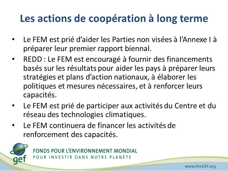 Les actions de coopération à long terme Le FEM est prié daider les Parties non visées à lAnnexe I à préparer leur premier rapport biennal.