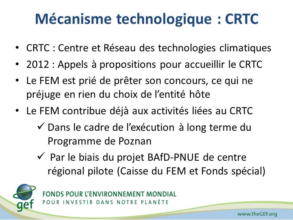 Mécanisme technologique : CRTC CRTC : Centre et Réseau des technologies climatiques 2012 : Appels à propositions pour accueillir le CRTC Le FEM est prié de prêter son concours, ce qui ne préjuge en rien du choix de lentité hôte Le FEM contribue déjà aux activités liées au CRTC Dans le cadre de lexécution à long terme du Programme de Poznan Par le biais du projet BAfD-PNUE de centre régional pilote (Caisse du FEM et Fonds spécial)