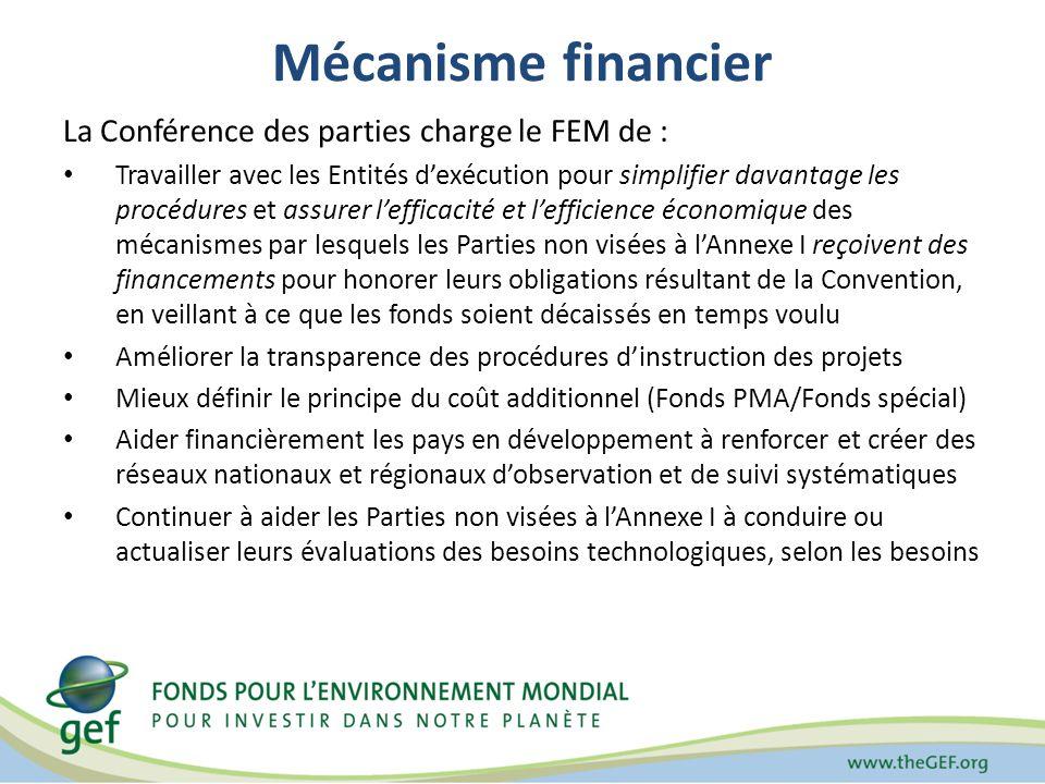 Mécanisme financier La Conférence des parties charge le FEM de : Travailler avec les Entités dexécution pour simplifier davantage les procédures et assurer lefficacité et lefficience économique des mécanismes par lesquels les Parties non visées à lAnnexe I reçoivent des financements pour honorer leurs obligations résultant de la Convention, en veillant à ce que les fonds soient décaissés en temps voulu Améliorer la transparence des procédures dinstruction des projets Mieux définir le principe du coût additionnel (Fonds PMA/Fonds spécial) Aider financièrement les pays en développement à renforcer et créer des réseaux nationaux et régionaux dobservation et de suivi systématiques Continuer à aider les Parties non visées à lAnnexe I à conduire ou actualiser leurs évaluations des besoins technologiques, selon les besoins